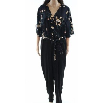 ファッション ジャンプスーツ The Savile Row NEW Blue Womens Size 14 Floral-Print Surplice Jumpsuit