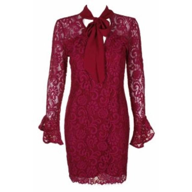 Adelyn  ファッション ドレス Adelyn ray bordeaux long sleeve lace cutout back sheath dress size
