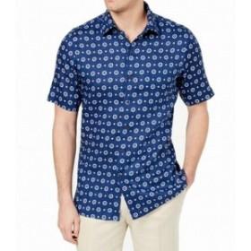 ファッション アウター Tasso Elba NEW Blue Mens Size XL Medallion Linen Button Down Shirt