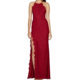 Red  ファッション ドレス Fame And Partners NEW Burgundy Red Womens Size 14 Lace Halter Silt Gown