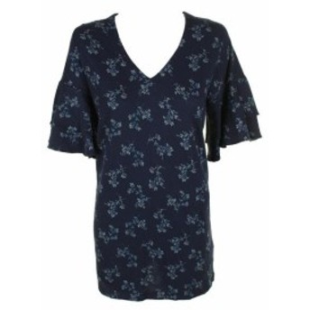 lucky ラッキー ファッション ドレス Lucky Brand Navy Tiered Short-Sleeve Floral Print V-Neck Shift Dress XS