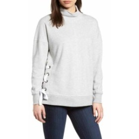 Gibson ギブソン ファッション トップス Gibson NEW Gray Womens Size PXS Petite Side Tie High Neck Sweatshirt