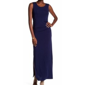 HEATHER  ファッション ドレス Heather NEW Blue Womens Size Medium M Scoop-Neck Shirred Maxi Dress
