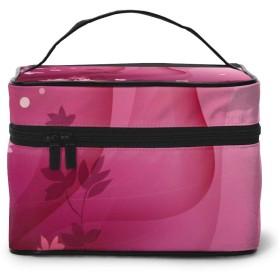 メイクポーチ 化粧ポーチ コスメバッグ バニティケース トラベルポーチ ピンク 葉 雑貨 小物入れ 出張用 超軽量 機能的 大容量 収納ボックス