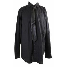 ファッション ドレス Inc International Concepts Black Bucksey Shirt And Pleather Tie Lt