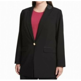Blazer ブレザー ファッション フォーマル Calvin Klein NEW Black Womens 22W Plus Satin-Trim Single-Button Blazer
