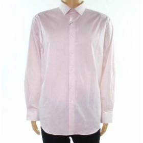 Alfani  ファッション ドレス Alfani NEW Pink Mens Size 17 1/2 Geo Print Slim Fit Stretch Dress Shirt