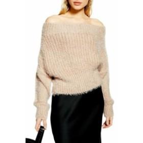 Topshop トップショップ ファッション トップス TOPSHOP Womens Sand Beige Size 8 Off-Shoulder Eyelash-Knit Sweater