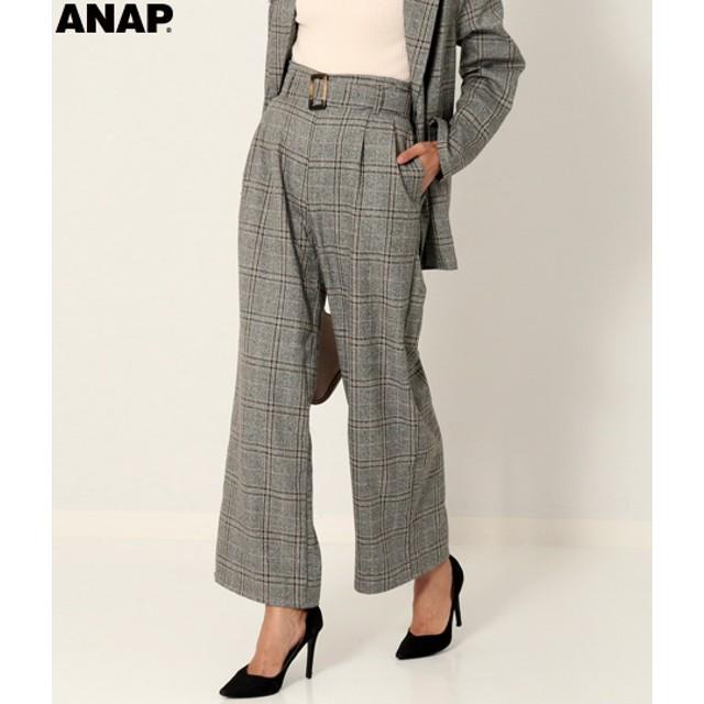 【セール開催中】ANAP(アナップ)ベルト付ミックスチェックロングパンツ
