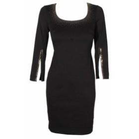 Calvin Klein カルバンクライン ファッション ドレス Calvin klein small black metallic-trim square-neck sheath dress