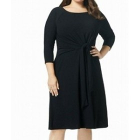 taylor テイラー ファッション ドレス Taylor Womens A-Line Dress Black Size 14W Plus Twist-Front Stretch