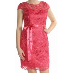 Adrianna Papell アドリアーナ パペル ファッション ドレス Adrianna Papell NEW Pink Womens Size 6 Illusion Lace Sheath Dress