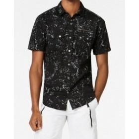 ファッション アウター INC Mens Black Size Small S Splattered Print Woven Button Down Shirt
