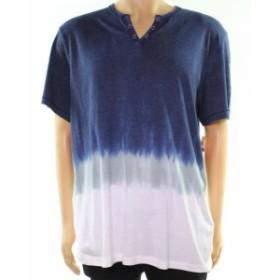 Split スプリット ファッション トップス INC NEW Navy Blue White Mens Size 2XL Split V Neck Ombre Dye Shirt