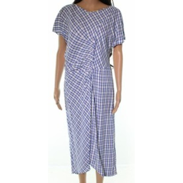 Plaid  ファッション ドレス Lewit NEW Blue Plaid Pleated Ruffle Front Womens Size 14 A-Line Dress