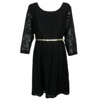 ファッション ドレス NY Collection Plus Size Black Lace With Belt Fit Pleated Skirt 3X