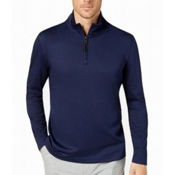 ファッション トップス Tasso Elba NEW Blue Mens Size XL 1/2 Zip Pullover Mock-Neck Sweater
