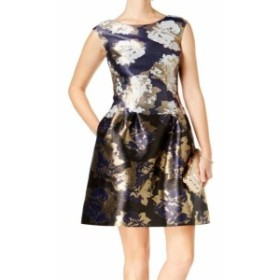 Vince ヴィンス ファッション ドレス Vince Camuto NEW Blue Womens Size 6 Floral Metallic A-Line Dress