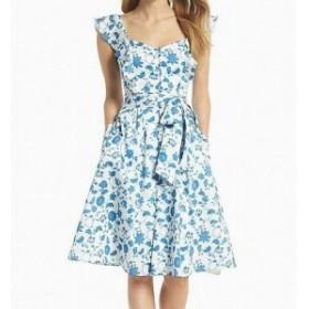 ファッション ドレス Gal Meets Glam Womens Blue Size 18 Floral-Printed A-Line Dress