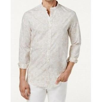Paisley  ファッション アウター Tasso Elba Mens Beige Size XL Paisley Print Woven Banded Collar Shirt
