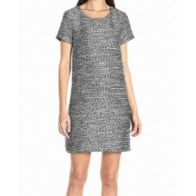 CeCe  ファッション ドレス CeCe Womens Blue Black White Tweed Knit Keyhole Size 6 Shift Dress