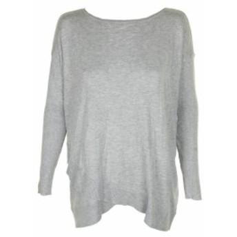 ファッション トップス Style & Co Grey Erica Ribbed-Sleeve Asymmetrical Crew Neck Sweater S