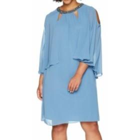 ファッション ドレス SLNY Womens Dress Blue Size 22W Plus Sheath Chiffon Embellished