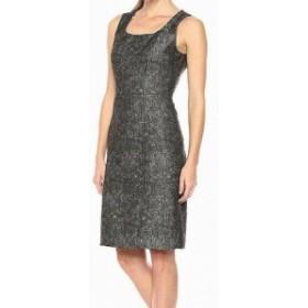 ファッション ドレス Kasper NEW Black Womens Size 14 Metallic Floral Texture Sheath Dress