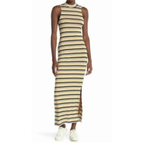 Maxi  ファッション ドレス Velvet Torch Womens Yellow Size Large L Mock Neck Striped Maxi Dress