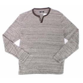 Alfani  ファッション アウター Alfani Mens Shirt Brown Size Large L Long Sleeve Striped Henley