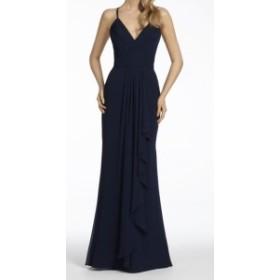 Hayley Paige ヘイリーペイジ ファッション ドレス Hayley Paige NEW Blue Womens Size 12 V-Neck Ruffle Trim Sheath Dress