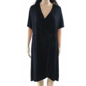 REBEL  ファッション ドレス Rebel NEW Black Womens Size 2X Plus Surplice Gathered Sheath Dress