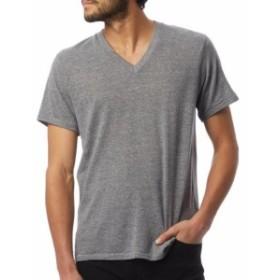 Alternative オルタナティブ ファッション トップス Alternative NEW Gray Mens Size Medium M V Neck Short-Sleeve Tee T-Shirt