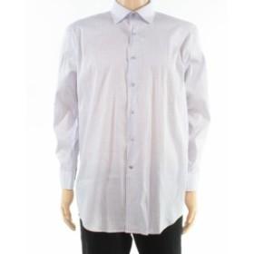 Alfani  ファッション ドレス Alfani Mens Dress Shirt Purple Size 16 1/2 Regular Fit Geo Print Stretch 046