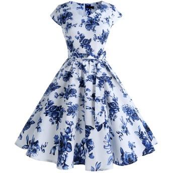 IVNIS レディースワンピース 花柄 レトロ V襟 ポケット リボン スイング Aライン 膝丈 フォーマル パーティードレス 大人 可愛い お呼ばれ 結婚式 二次会 White Blue Flower L