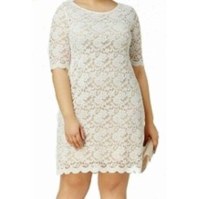 ファッション ドレス Connected Apparel NEW White Womens Size 22W Lace Scallop Sheath Dress