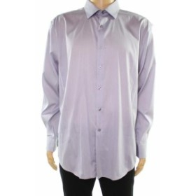 Alfani  ファッション ドレス Alfani Mens Dress Shirt Purple Size Large L 16-16 1/2 Athletic Fit