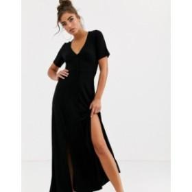 エイソス レディース ワンピース トップス ASOS DESIGN button through maxi tea dress with splits Black