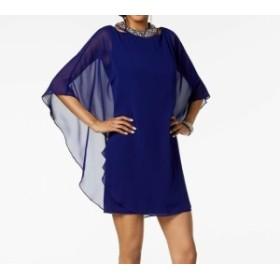 ファッション ドレス Xscape NEW Blue Chiffon Overlay Embellished 4P Petite Sheath Dress