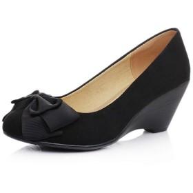 パンプス ブラック ぱんぷす 走れる 痛くない 疲れにくい 22.0cm 立ち仕事 レディース 黒 リボン ハイヒール ビジネスシューズ オフィス ウェッジソール 6cmヒール 通勤 リクルート 就職活動 黒 パンプス 大きいサイズ 靴