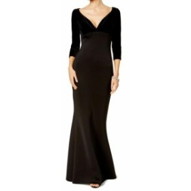Betsy & Adam ベッツィアンドアダム ファッション ドレス Betsy & Adam NEW Black Womens Size 2 V-Neck Velvet Scuba Gown Dress