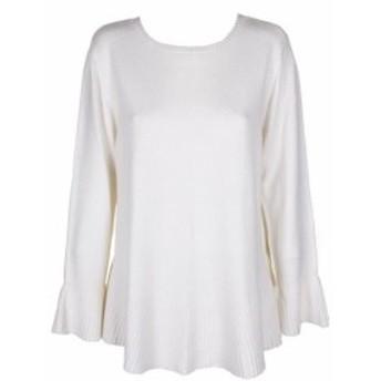 ファッション トップス Style & Co Warm Ivory Long-Sleeve Flared Hem Crew-Neck Sweater XL