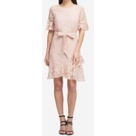 DKNY ダナキャランニューヨーク ファッション ドレス DKNY NEW Peach Pink Womens Size 4 Lace Short Sleeve Belted Sheath Dress