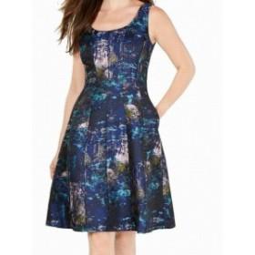 Donna Ricco ドナリッコ ファッション ドレス Donna Ricco Womens Dress Blue Size 10 A-Line Brocade Printed V-Back