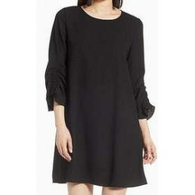 Shift  ファッション ドレス Halogen NEW Black Womens Size Small S Ruched Sleeve Solid Shift Dress