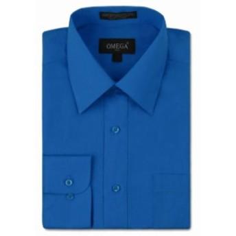 ファッション ドレス NEW Omega Italy Mens Dress Shirt Long Sleeve Solid Color Regular Fit 15 Colors