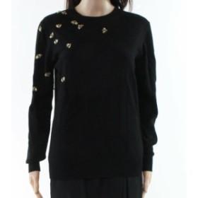 BAKER  ファッション トップス Ted Baker NEW Black Gold Womens Size 2 Embellished Crewneck Sweater