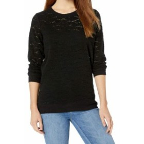 lucky ラッキー ファッション トップス Lucky Brand Womens Black Size Small S Brushed Lace Crewneck Sweater