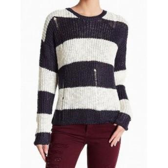 ファッション トップス Cotton Emporium NEW Blue Women Size Large L Distressed Knitted Sweater