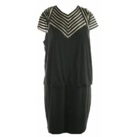 Adam  ファッション ドレス Betsy Adam Black Cap-Sleeve Mesh Inset Blouson Dress 14